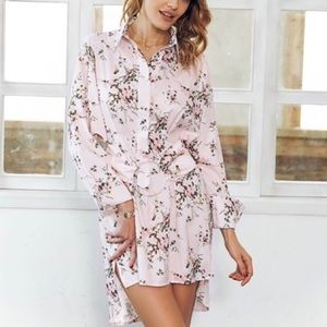 'Elilah' Pink Floral Button Down Dress